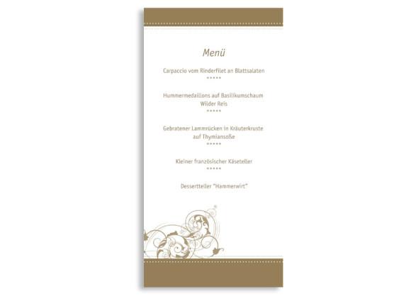 Rückseite, Menükarte zur Hochzeit (DIN Lang-Karte, zweiseitig), Motiv Paris, Farbversion: beige