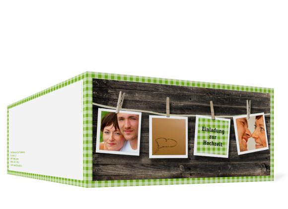 Außenansicht, Klappkarte zur Hochzeit (Format DIN Lang), Motiv Alpenglühen, Farbversion: grün