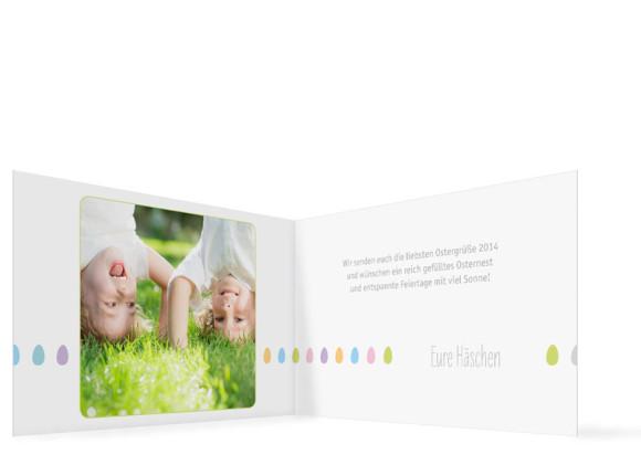 Ostergrüße Ostereier, Außenansicht der Farbversion: weiß