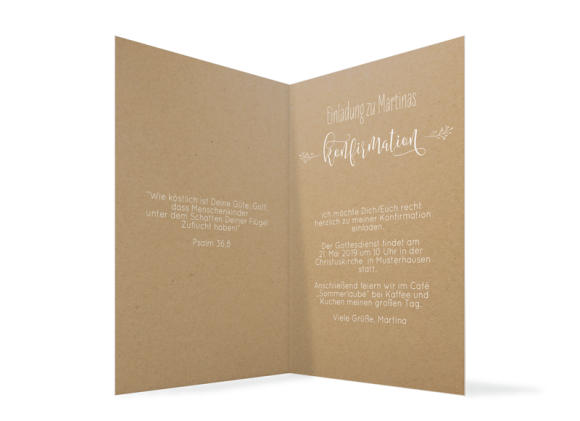 Konfirmationeinladung (Klappkarte A6), Motiv: Blumenkranz Natural, Innenansicht, Farbvariante: weiss