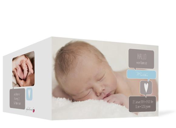 Geburtskarten Mathilda/Matteo, Aussenansicht, Farbversion: schlamm/hellblau