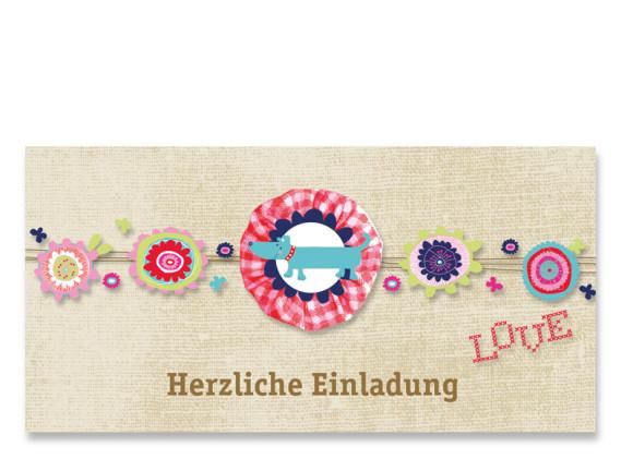 Einladungskarte Dackel (Postkarte, mit 2 Fotos)
