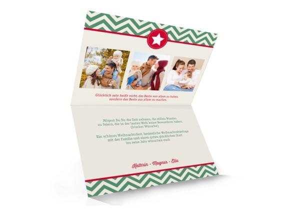 Weihnachtskarte Hamptons Christmas, Innenansicht der Farbversion: oliv/rot