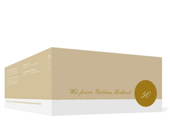 Goldhochzeit Einladung Buenos Aires, Außenansicht der Farbversion: beige