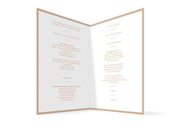 Innenansicht, Klappkarte zur Hochzeit (Kirchenheft), Motiv Verona, Farbversion: beige