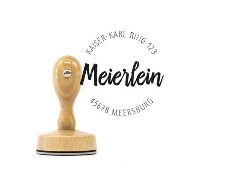 "Adress-Stempel ""Meersburg"" (Holzstempel), ca. 50 mm, rund, personalisiert"