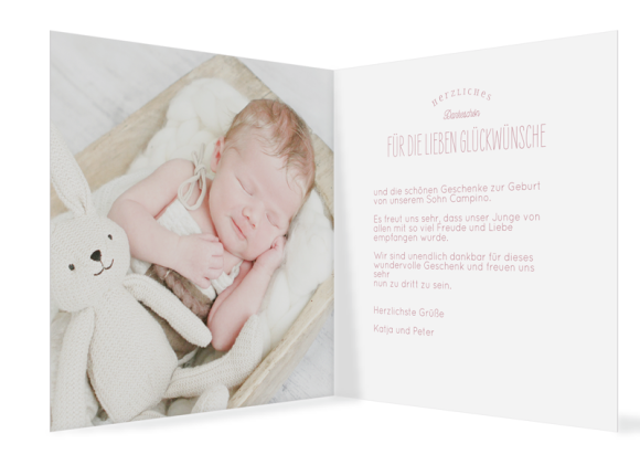 Geburtskarte (Klappkarte quadratisch, 13 Fotos), Motiv: Carmen/Campino, Innenansicht, Farbvariante: altrosa