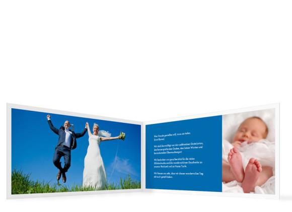 Danksagung zur Taufe & Hochzeit Athen, Innenansicht der Farbversion: blau