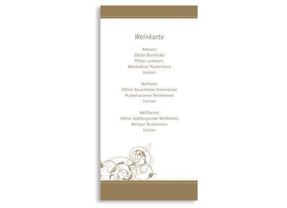 Menükarten zur Hochzeit Paris (DIN Lang-Karte)