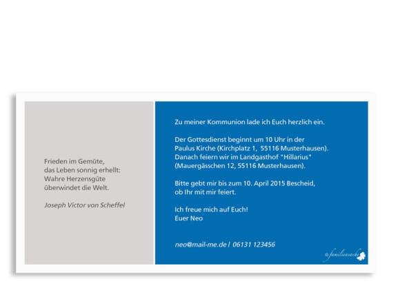 Kommunionseinladung Nora/Neo, Vorderseite der Farbversion: blau