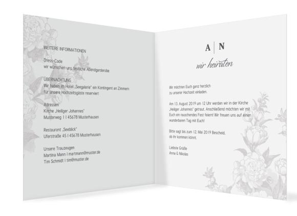 Einladungskarten Hochzeit (quadratische Klappkarte, ohne Foto), Motiv: Bukarest, Innenansicht, Farbvariante: anthrazit