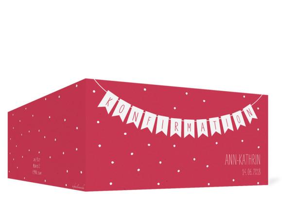 Einladung zur Konfirmation, Motiv: Wimpelkette, Aussenansicht, Farbvariante: Rot