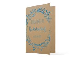 """Einladung zur Kommunion """"Blumenkranz Natural"""" (Klappkarte)"""