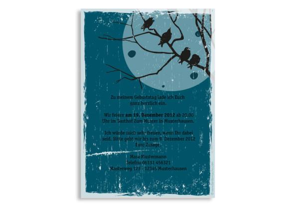 Rückseite, Einladung zum Geburtstag, Motiv Birds, Farbversion: blau