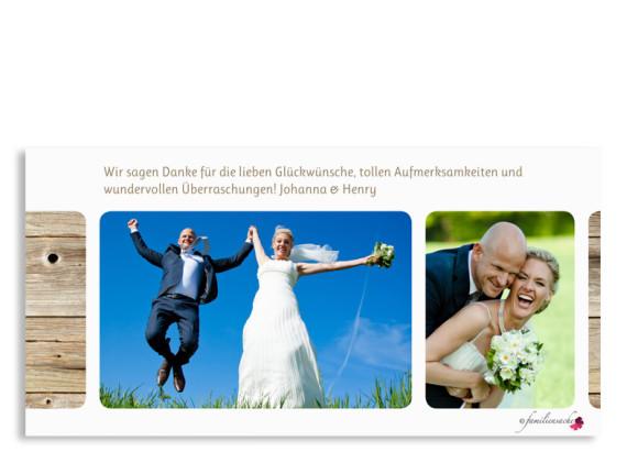 Rückseite der Hochzeit-Dankeskarte Zürich, Farbversion: schlamm