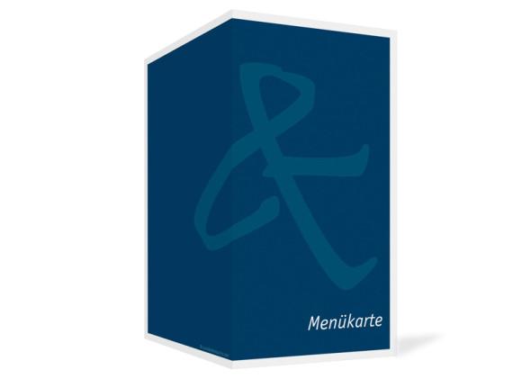 Außenansicht, Menükarte zur Hochzeit (Klappkarte), Motiv Bern, Farbversion: blau