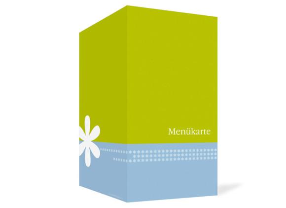 Aussenansicht, Menükarte zur Hochzeit (Klappkarte), Motiv Berlin, Farbversion: blau-gruen