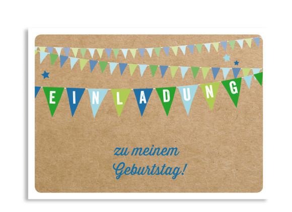Einladung zum Geburtstag Wimpel (Postkarte)