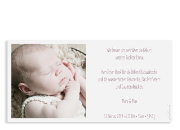 Babykarte (Postkarte DIN Lang, 1 Foto), Motiv: Emma/Emil, Rückseite, Farbvariante: lila