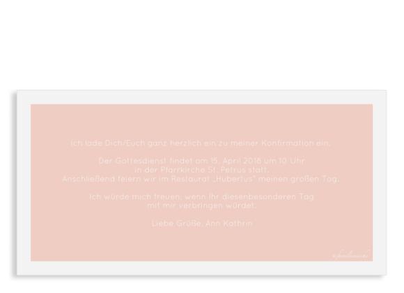 Einladungskarte Konfirmation (Postkarte Din Lang), Motiv: Glauben, Rückseite, Farbvariante: apricot
