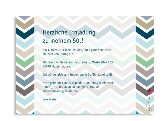 Rückseite, Einladung zum 50., Motiv ZigZag, Farbversion: blau