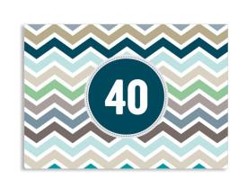 Einladungskarte ZigZag zum 40. Geburtstag Blau