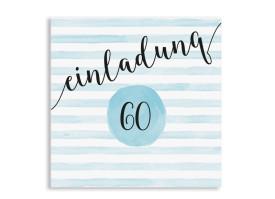 Einladung 60. Geburtstag Dots 'n Stripes Eisblau