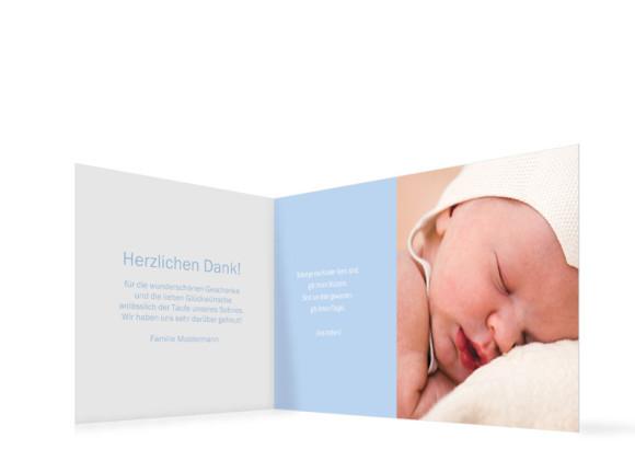 Innenansicht, Danksagungs-Klappkarte zur Taufe (Format DIN Lang), Motiv Franka/Fred, Farbversion: bunt/hellblau