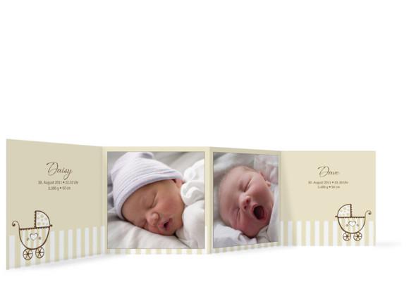 Innenansicht, Leporello zur Geburt von Zwillingen, Motiv Daisy/Dave, Farbversion: beige