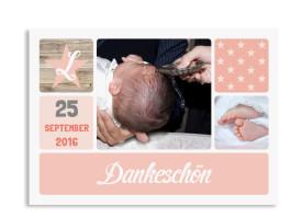 Danksagungskarten zur Taufe Lucia/Luca Apricot