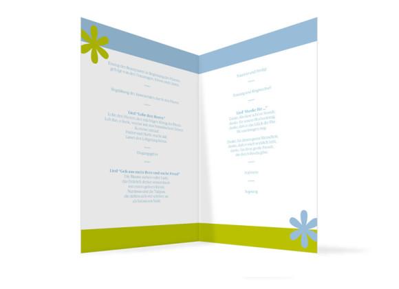 Innenansicht, Klappkarte zur Hochzeit (Kirchenheft), Motiv Berlin, Farbversion: blau-gruen