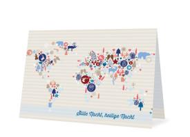 Weihnachtskarten Weltkarte (Klappkarte) Blau