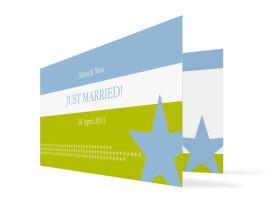Hochzeits-Danksagungskarte New York (Klappkarte) Blau/Grün