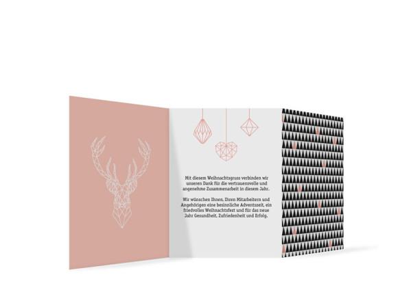 Weihnachtskarte für die Firma Origami, Rückseite: apricot