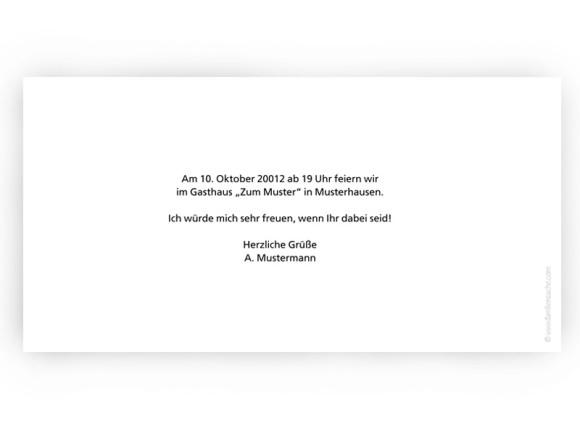Rückseite, Einladungs-Postkarte zum Geburtstag, Motiv Fotokarte, Farbversion: blanko