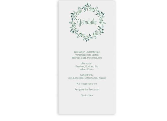 Menükarte zur Hochzeit Blätterkranz