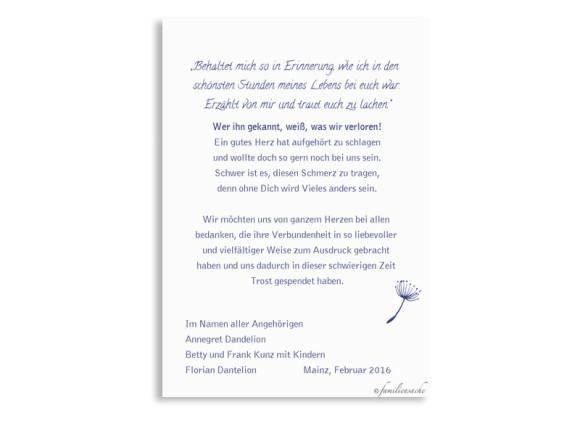 Trauerkarten Pusteblume, Rückseite der Farbversion: blau
