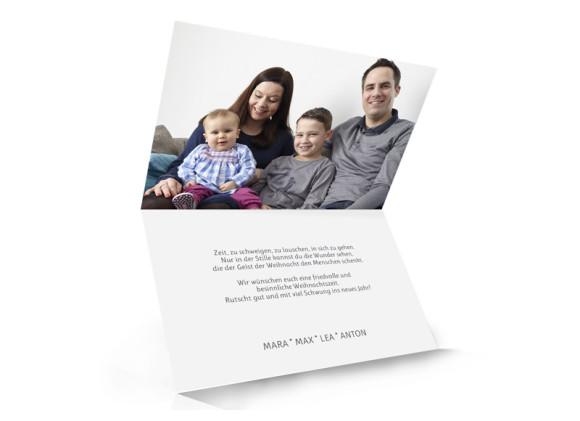 Karte zu Weihnachten Skript mit Foto in schwarzgrau, Innenansicht