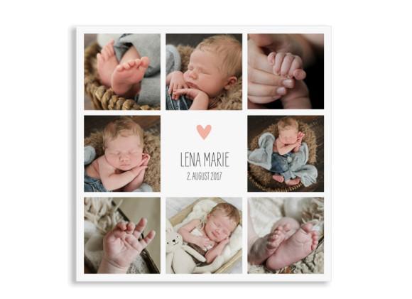 Danksagung zur Geburt Lena/Lars (quadratische Postkarte)