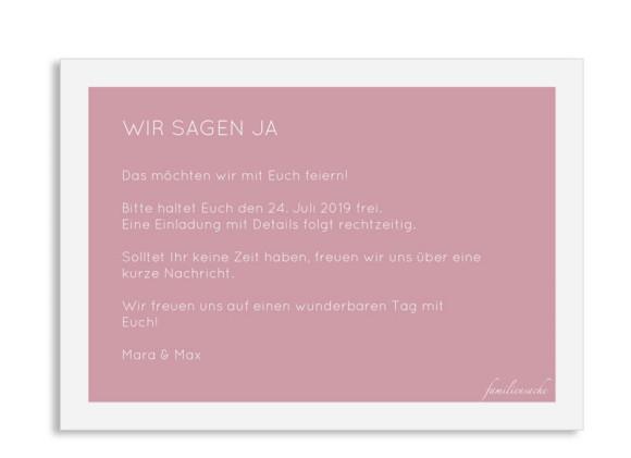 Save the date-Karte (Postkarte A6, ohne Foto), Motiv: Salzburg, Rückseite, Farbvariante: altrosa