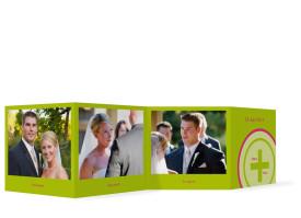 Hochzeit Foto-Leporello A+B (Gastgeschenk) Grün/Pink