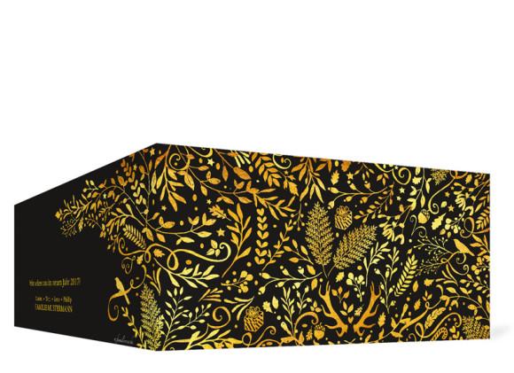 Weihnachtskarte Naturgold in schwarz, Außenansicht