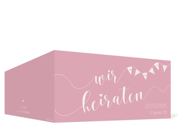 Einladungskarten Hochzeit (Klappkarte DL quer), Motiv: Malmö, Aussenansicht, Farbvariante: rosa