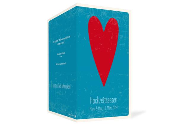 Hochzeitsmenükarten Vintage Heart, Außenansicht der Farbversion: blau
