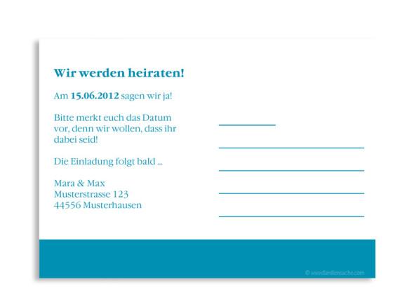 Rückseite, Einladungs-Postkarte zur Hochzeit, Motiv Helsinki, Farbversion: blau
