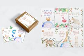 Baby Meilensteinkarten mit süßen Tieren