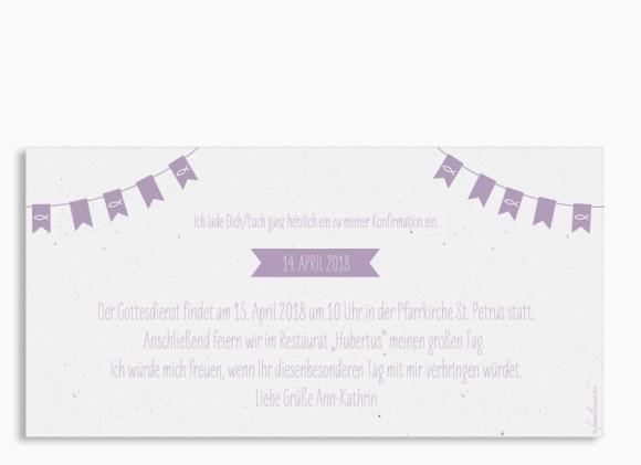Konfirmationseinladung , Motiv: Wimpelkette, Rückseite, Farbvariante: Lila