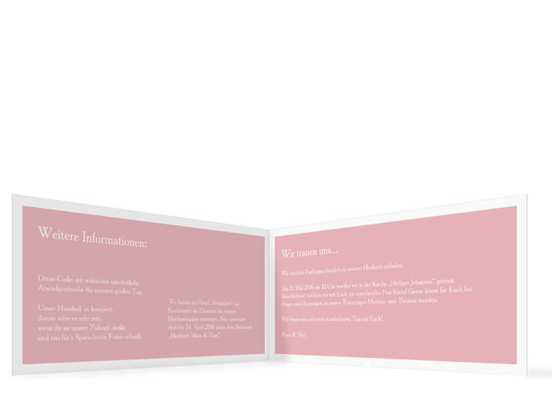 ... Hochzeitseinladung Nizza, Klappkarte DIN Lang, Innenansicht,  Farbversion: Puder