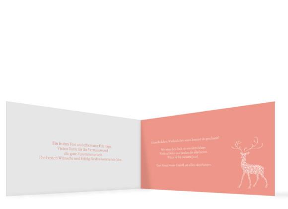 Innenseite, Firmen-Weihnachtskarte Holy Deer mit eigenem Logo, Farbversion: apricot