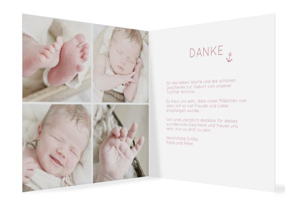Geburtskarte (Klappkarte quadratisch), Motiv: Antonia/Alexander, Innenansicht, Farbvariante: altrosa